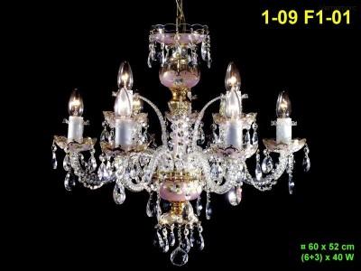 Skleněný lustr 9-ramenný 60x52cm PL, INL