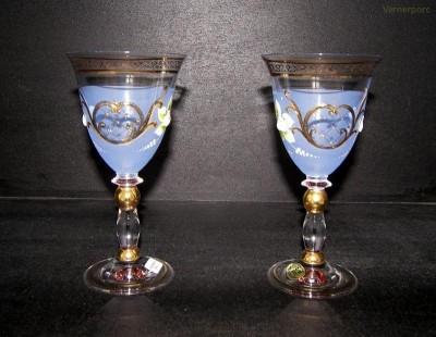 Sklenice fond modrá barva víno 2ks. 200ml. HT