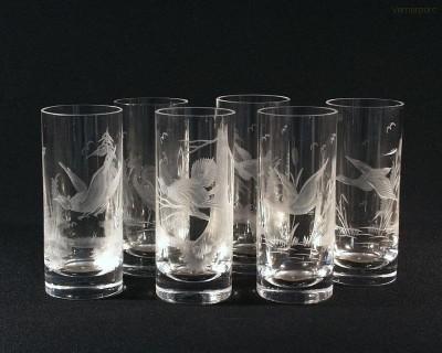 Sklenice long křišťál ptáci 2001/00001/350P 6ks Tom Crystal Bohemia