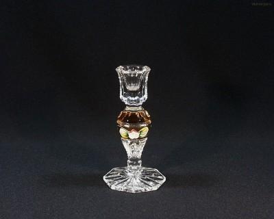 Svícen křišťálový broušený 90999/57111/140 14cm Tom Crystal Bohemia