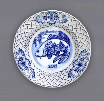 Závěsný výroční talíř reliéfní 2012 Český porcelán